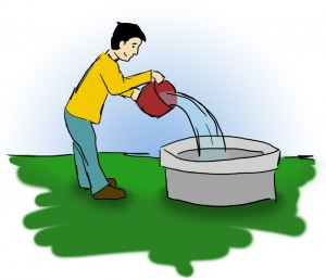 Wasser in den Brunnen schütten
