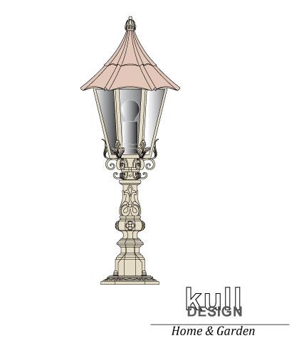 gartenleuchte sockellampe kupfer geschmiedet