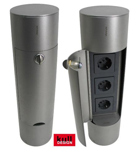 Runder Edelstahl Pylon als Garten-Stromverteiler mit Türe und 3 Steckdosen <b>Design Energiesäule<b>
