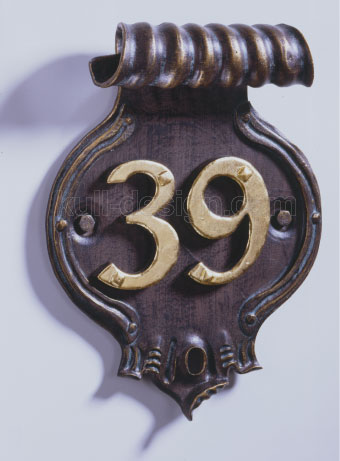 Hausnummer für Doppelziffer, vergoldet