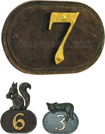 Hausnummer Schild für einstellige Ziffer mit Blattgold Verzierung