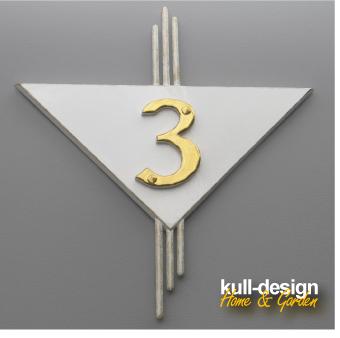 Hausnummer für 1 Ziffer und Blattgold-Dekor