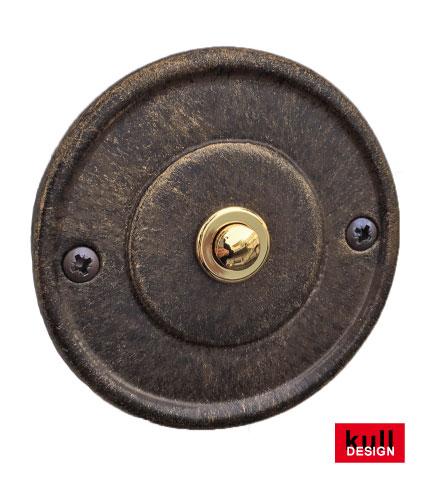 Klingelrosette Rund  ø 10 cm mit Klingeltaster in Gold