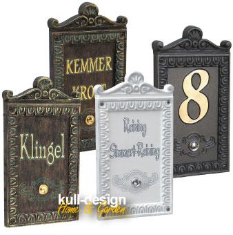 Blende 20 mm erhaben mit umlaufendem Zierrand und oben mit Aufsatz Ornament. Maße: 16 x 29 cm, freie Innenfläche glatt für individuelle Gestaltung mit Namen, Klingeltaster, Hausnummer usw.