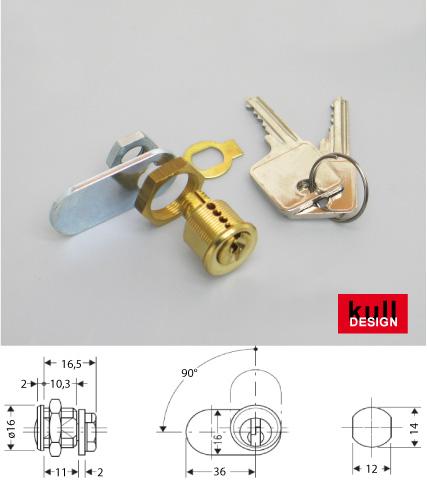 Messing Briefkasten Schloss mit 2 Schlüssel