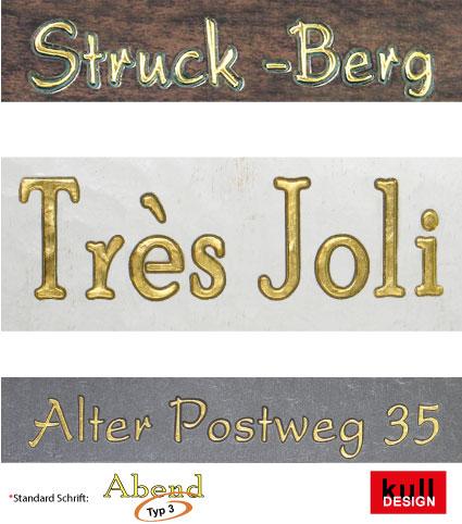 Name oder Schriftzug graviert und mit 23 Karat Blattgold ausgelegt