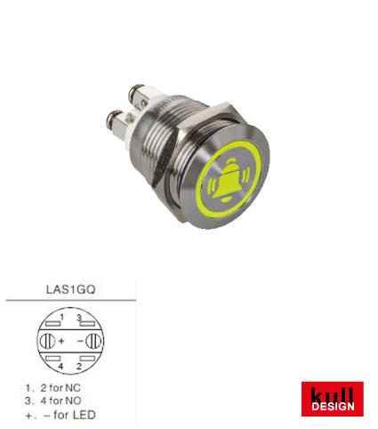 Klingeltaster Edelstahl LED Symbol Glocke Gelb