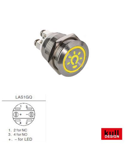 Lichttaster Edelstahl LED mit Symbol Licht in Gelb