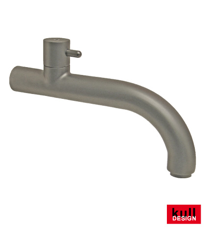 Stainless steel design faucet with ceramic valve extension 20 cm, front 90 degrees bent.