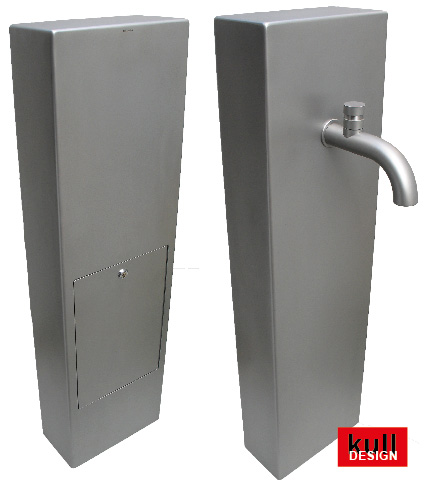 Design fountain stele with revision door. Stainless steel or powder coated. Dimensions: 15 x 30 cm, height 110 cm
