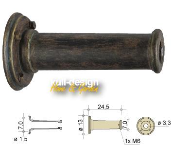 Rosette für Wasserhahn mit Rundflansch D= 13 cm, Länge 24,5 cm, mit 4 Befestigungsschrauben im Flansch.
