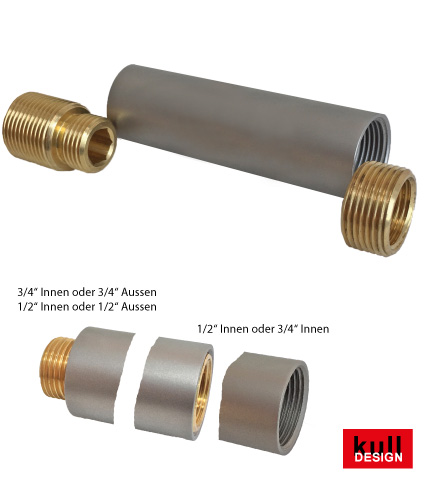 Extension sleeve made of stainless steel for faucet with slinging ippel