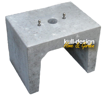Concrete U-stone as Earth base for wells with holes and 2 screws