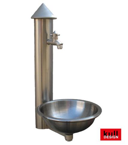 Edelstahl Design Wandbrunnen mit Wasserhahn und Rundbecken