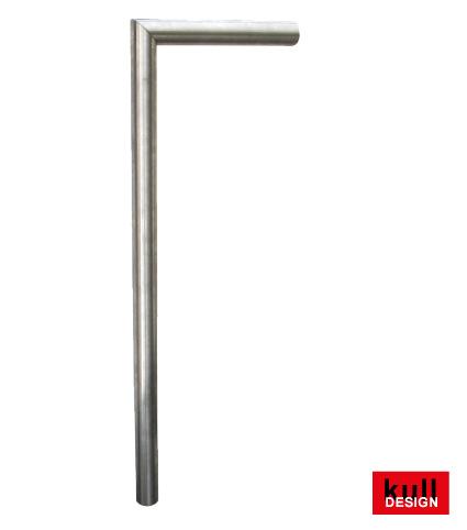 Edelstahl Zapfstelle ø 42 mm für Gartenbrunnen. Oben 1 x 90 Grad scharfkantig abgewinkelt somit ist der Wasseraustritt waagerecht nach vorne. Ein Absperrventil und Bodenplatte kann eingebaut werden.