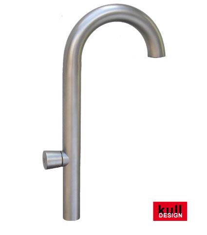 Edelstahl Design Wasserhahn stehend mit Rundbogen, Höhe 45 cm, Tiefe 25 cm