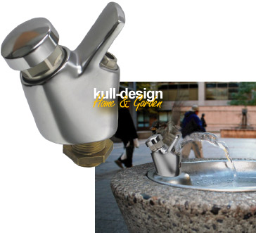 Small drinking fountain fitting with Adjustable parabolic Jet and soft push button