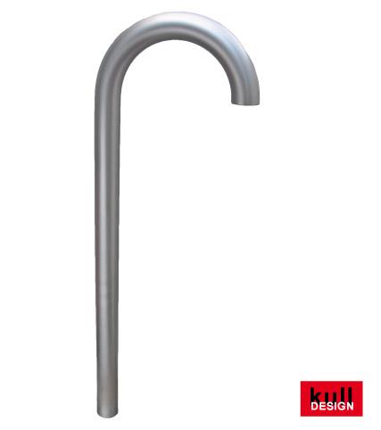 Edelstahl Brunnenbogen ø 60 mm für Gartenbrunnen. Oben 180 Grad halbkreisförmig gebogen, somit ist der Wasseraustritt vorne senkrecht nach unten. Ein Absperrventil und Bodenplatte kann eingebaut werden.