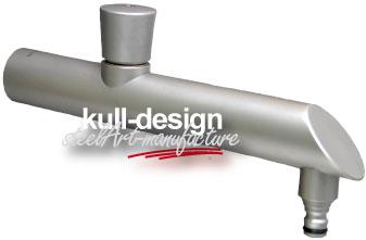 Edelstahl Designwasserhahn 30 cm mit Runddrehgriff und Schlauchanschluss