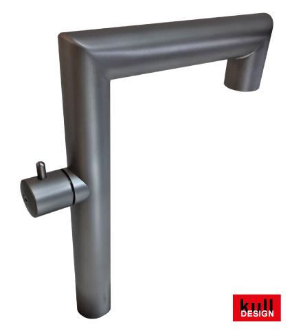 Edelstahl Stand Wasserhahn 2x 90°, Höhe 35 cm, Ausladung 25 cm