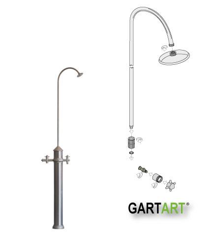 Gart-Art-Dusche in Edelstahl-Optik
