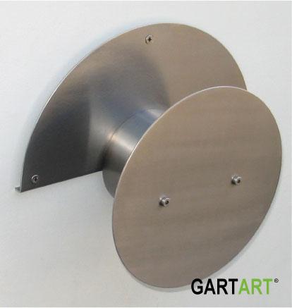 Edelstahl Schlauchhalter (40 mtr.) mit runder Frontblende zur Montage an der Wand